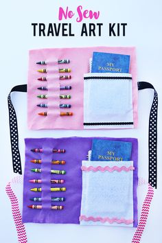 This No Sew Travel Art Kit will be the hit of the summer road trips! It's so easy and quick to make and your little ones will enjoy it for hours!