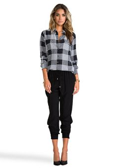 EQUIPMENT Slim Signature Ghost Plaid Blouse in Black at Revolve Clothing - Free Shipping!