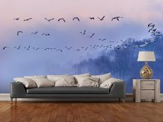 Snow Geese wall mural room setting