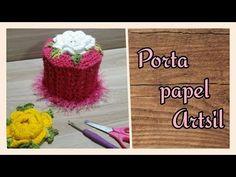 Porta papel de bancada Brinco de Princesa By Karin Costa - YouTube Tissue Box Covers, Tissue Boxes, Bracelet Patterns, Crochet Flowers, Doilies, Diy And Crafts, Crochet Hats, Cristina, Bathroom