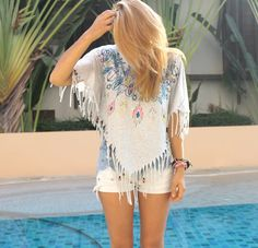 Women Top #Shirt #Tshirt #Fringe #Fashion #Blogger #Outfit #Summeroutfit #Festival #Beach #MustHave by VanillaCloset