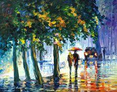 Couple Painting Rain Wall Art On Canvas By Leonid Afremov - Rainy Stroll Rain Painting, Couple Painting, Love Painting, Oil Painting On Canvas, Tree Canvas, Canvas Frame, Canvas Art, Canvas Prints, Art Prints