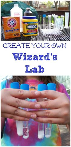 Fun science activity with easy experiments for preschool, kindergarten and elementary ages -- Tips on How to set up your own wizard lab for kids using items from the kitchen! Plus cool books to use for experiments! Science Activities For Kids, Preschool Science, Teaching Science, Stem Activities, Play Activity, Science Classroom, Science Education, Science Chemistry, Spring Activities
