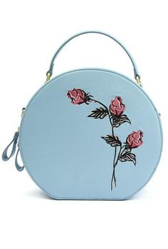 Blue and Pink Rose Hat Box Style Purse