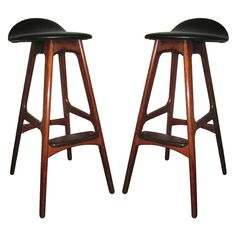 Set of 3 Solid Rosewood Erik Buck Bar Stools | From a unique collection of antique and modern stools at http://www.1stdibs.com/furniture/seating/stools/