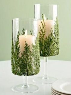 Christmas Candle Decoration... use uglu to attach cedar to the OUTSIDE of the Candle Holder....