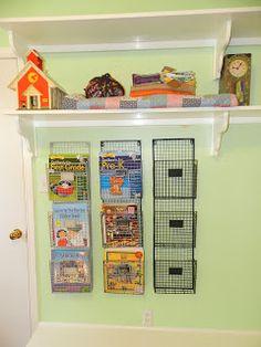 school room - i LOVE the wire racks to hang books