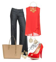 """""""157"""" by jtells ❤ liked on Polyvore featuring Goldsign, Zara, Christian Louboutin, Michael Kors, Kasturjewels and Dorothy Perkins"""