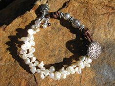 Leather and Keshi Pearl Button Closure Bracelet by fleurdesignz