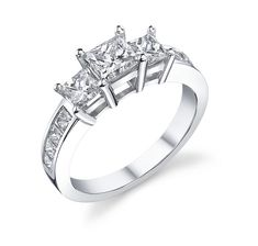 Princess Cut Engagement Ring 3-Stone with side princess diamonds