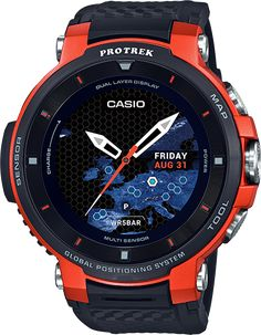 Casio Pro Trek GPS Bluetooth Smartwatch for Men - Black/Orange for sale online Casio Protrek, Amazing Watches, Cool Watches, Watches For Men, Casual Watches, Beautiful Watches, Casio G-shock, Casio Watch, G Shock