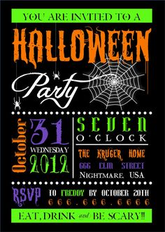 Halloween Party Invitation -- Printable or Printed for you