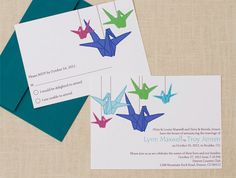 paper crane moon wedding invitation  navy and peach  sakura, invitation samples
