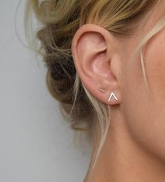 Chevron Stud Earrings V Earrings Small Stud Earrings | Etsy Earrings Uk, Bar Stud Earrings, Small Earrings, Silver Earrings, Diamond Earrings, Silver Jewelry, Silver Ring, Earring Studs, Stone Earrings