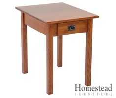 Parkston 1 Drawer End Table The focus is on the craftsmanship with the Parkston 1 Drawer End Table, making it a perfect fit for the craftsman mission style.  Quarter sawn oak is an obvious choice for this chest of drawers, but additional woods and finishes are available to suit your tastes. Pair with other Mission pieces to complete your craftsman mission room design. http://homesteadfurnitureonline.com/occasionals_parkston-end-table-drawer.html