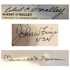 Medal of Honor (1 of 5). Robert O'Malley (via mail), John Finn (via mail), Clarence Sasser (via mail).