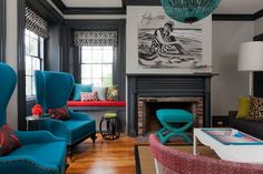Eclectic Living room gray Turquoise red Black and White | Decor Pictures, Home Decorating Ideas in Gallery