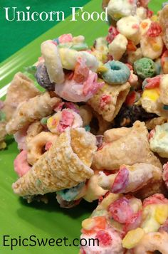Unicorn Food! This is an absolutely amazing snack food! It's bugles, skittles, fruitypebbles, fruit loops, captain crunch, mini fruity marshmallows, and it's all covered in white chocolate!!!