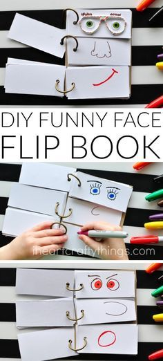This DIY Funny Face Flip Book is simple to put together and will keep the kids creatively entertained all afternoon. - This DIY Funny Face Flip Book is simple to put together and will keep the kids c. Summer Activities For Kids, Craft Activities, Toddler Activities, Diy For Kids, Summer Kids, Summer Food, Babysitting Activities, Activity Toys, Diys For Summer