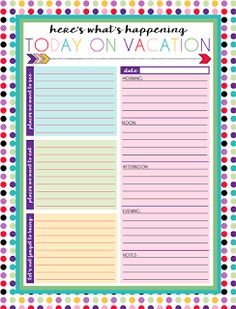 Exclusive Free Printables  Free Printables Binder And Vacation