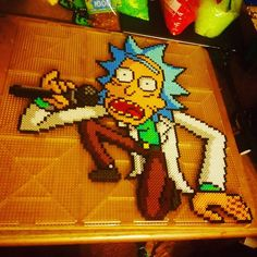 Awww yeahhh, you gotta get schwifty in here! Nerd Crafts, Cute Crafts, Crafts To Make, Hama Beads, Fuse Beads, Perler Bead Templates, Perler Patterns, Beaded Cross Stitch, Cross Stitch Patterns