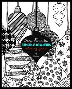 "Adult Coloring Page Printable by U Create ""Christmas Ornaments"" MichaelsMakers"