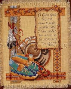 Free Native American Cross Stitch | RARE ROSSI SOUTHWEST NATIVE AMERICAN CROSS STITCH KIT TWO MOONS