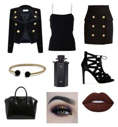 """""""Black, Gold, and Subtly Bold"""" by toriwright70 on Polyvore featuring Balmain, Yves Saint Laurent, David Yurman, Givenchy, BHCosmetics, Lime Crime, Gucci and T By Alexander Wang"""