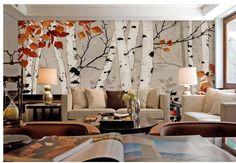 aanpassen behang papel de parede esdoorn bladeren kleine verse berken bladeren muurschildering muur sticker 3d behang gratis shipping6893(China (Mainland))