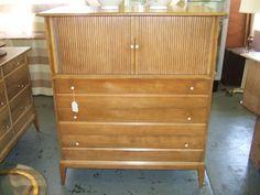 Sold for $595. Heyyood Wakefield RARE Tambour Door Bachelor's Chest