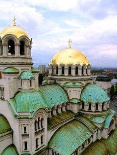 Domes in Sea Green and Gold ~ Alexander Nevsky Cathedral, Sofia, Bulgaria