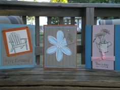 It was 100+ degrees on my vaca last week so one afternoon I stayed in the A/C and made cards.