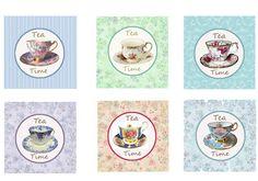 Tea Party TeaCup Vintage Tea Pot Cupcake Toppers Tags by sssstudio, ETSY - # # Great digital shop! !