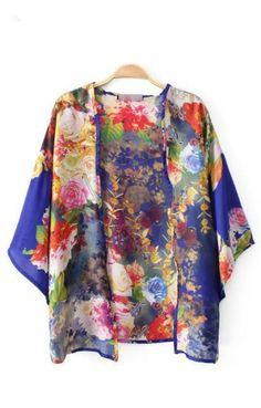 painterly floral kimono cardigan