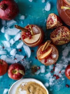 This sparkling pomegranate cider punch is a delicious mix of pomegranate juice and apple cider with autumn simple syrup. Apple Cider Cocktail, Cider Cocktails, Summer Cocktails, Fall Drinks, Halloween Cocktails, Pumpkin Beer, Pumpkin Spice, Spiced Wine, Pomegranate Juice