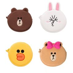 Line Friends Official Goods Coin Wallet Pouch Small Brown Cony Sally Choco  #LineFriends #CoinWallet
