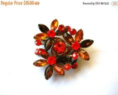Clearance Sale Rhinestone Brooch - Orange Rhinestone Brooch - Rhinestone Pin by BohemianGypsyCaravan