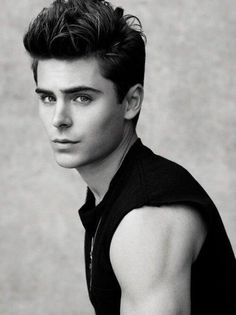 Zac Efron | not one to pin pictures of guys like him but it's blaçk and white so it fits