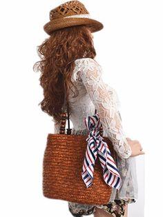Foldable Casual Tote Large Women Shoulder Bag Ladies Straw Weaving Summer Beach Bag Grass Weaven Handbag With Beads Handle