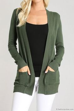 Knit Open Front Sweater Basic Cardigan with Pockets-Olive Green Green Cardigan Outfit, Olive Green Cardigan, Cardigan Outfits, Casual Skirt Outfits, Work Outfits, Fall Outfits, Boyfriend Cardigan, Online Clothing Boutiques, Weekend Wear