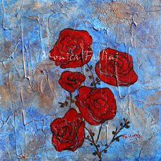 Monica Fallini daily paintings: Red Roses acrylic painting by contemporary artist ...