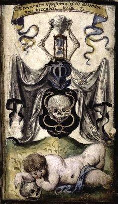 Coat of arms of Death (f°144r) -- «Ain Bethbuch linn der zehn Gebot, des Glaubens, des Vatters unsers und des Ave Marien», by Martin Luther [Spencer Collection Ms. 108]