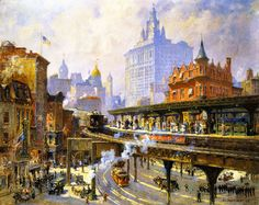 """Colin Campbell Cooper (1856 – 1937) """"Chatham Square Station New York"""""""