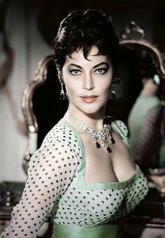 Ava Gardner in mint green.