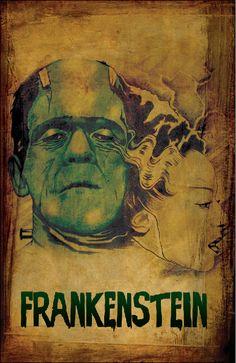 Awesome Bride of Frankenstein painting Love Monster, Frankenstein's Monster, Scary Monsters, Famous Monsters, Beetlejuice, Horror Movie Posters, Horror Movies, Dark Romance, Halloween Art