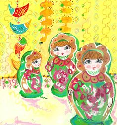 Russian Dolls, drawing by Laura Beth Sharp