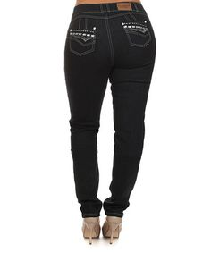 Loving this Black Sexsi Pompis Stud Skinny Jeans - Plus Too on #zulily! #zulilyfinds