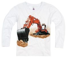 Shirts That Go Little Boys' Long Sleeve Orange Excavator T-Shirt.  This construction truck shirt is a perfect addition to a birthday celebration. Kids fashion, boy style and great for kids who love construction and trucks.