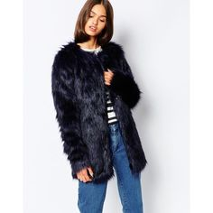 Barney's Originals Faux Fur Longline Coat ($63) ❤ liked on Polyvore featuring outerwear, coats, blacknavy, long fake fur coat, collarless coat, tall coats, long coat and longline coat