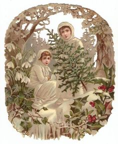 Oval Victorian Die Cut Christmas Snow Girls Holly Pine Tree Forest Magic Decoration Antique Scrap 1880s: